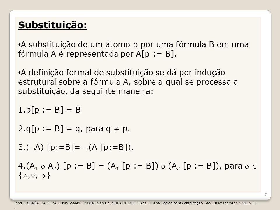Substituição: A substituição de um átomo p por uma fórmula B em uma fórmula A é representada por A[p := B]. A definição formal de substituição se dá p