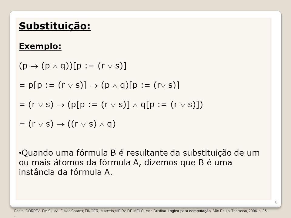 Substituição: Exemplo: (p (p q))[p := (r s)] = p[p := (r s)] (p q)[p := (r s)] = (r s) (p[p := (r s)] q[p := (r s)]) = (r s) ((r s) q) Quando uma fórm