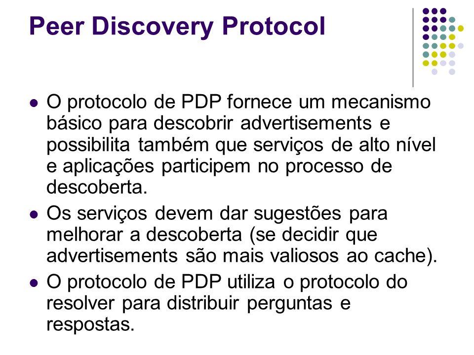 Peer Discovery Protocol O protocolo de PDP fornece um mecanismo básico para descobrir advertisements e possibilita também que serviços de alto nível e