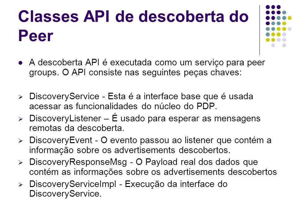 Classes API de descoberta do Peer A descoberta API é executada como um serviço para peer groups. O API consiste nas seguintes peças chaves: DiscoveryS