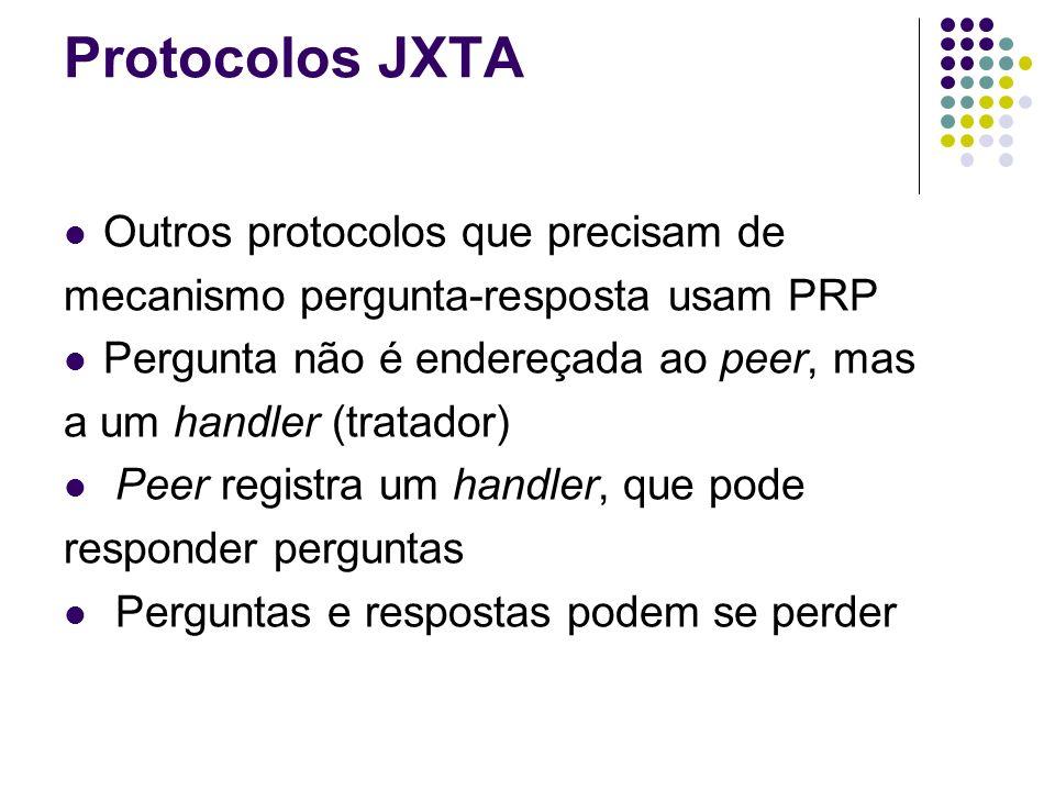 Protocolos JXTA Outros protocolos que precisam de mecanismo pergunta-resposta usam PRP Pergunta não é endereçada ao peer, mas a um handler (tratador)
