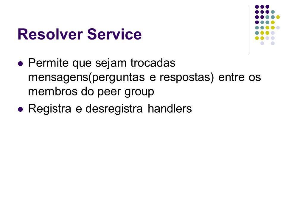 Resolver Service Permite que sejam trocadas mensagens(perguntas e respostas) entre os membros do peer group Registra e desregistra handlers