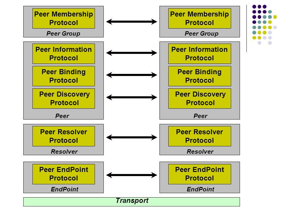 Peer Membership Protocol Peer Information Protocol Peer Binding Protocol Peer Discovery Protocol Peer Resolver Protocol Peer EndPoint Protocol Transpo
