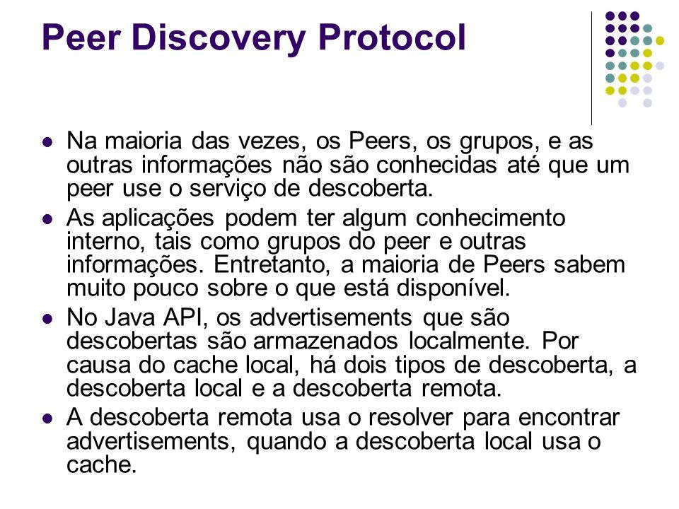 Peer Discovery Protocol Na maioria das vezes, os Peers, os grupos, e as outras informações não são conhecidas até que um peer use o serviço de descobe