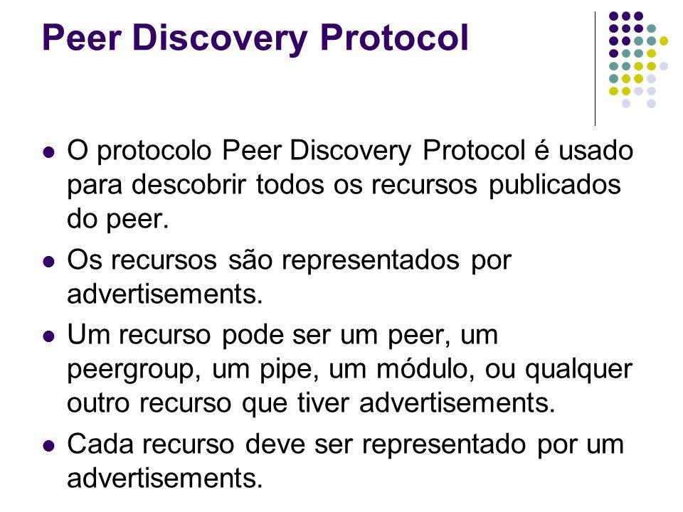 Peer Discovery Protocol O protocolo Peer Discovery Protocol é usado para descobrir todos os recursos publicados do peer. Os recursos são representados