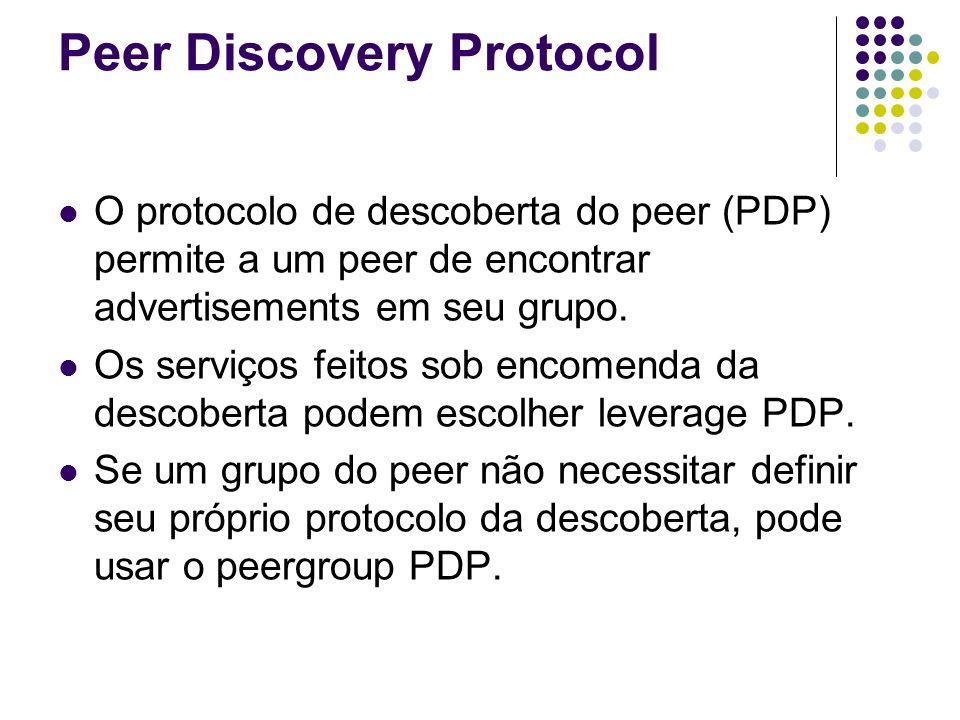 Peer Discovery Protocol O protocolo de descoberta do peer (PDP) permite a um peer de encontrar advertisements em seu grupo. Os serviços feitos sob enc