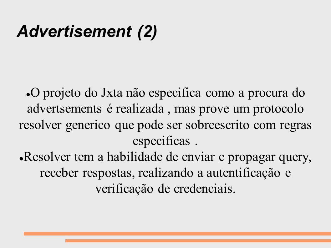 Advertisement (2) O projeto do Jxta não especifica como a procura do advertsements é realizada, mas prove um protocolo resolver generico que pode ser