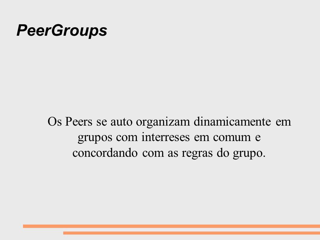 PeerGroups Os Peers se auto organizam dinamicamente em grupos com interreses em comum e concordando com as regras do grupo.
