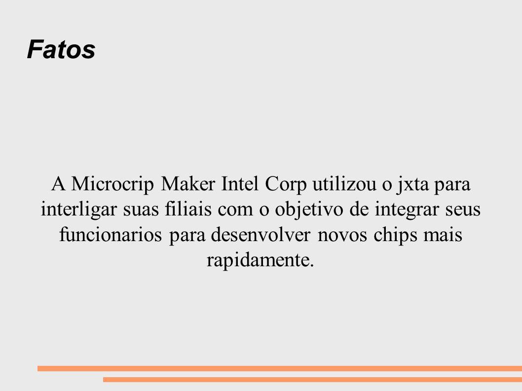 Fatos A Microcrip Maker Intel Corp utilizou o jxta para interligar suas filiais com o objetivo de integrar seus funcionarios para desenvolver novos ch