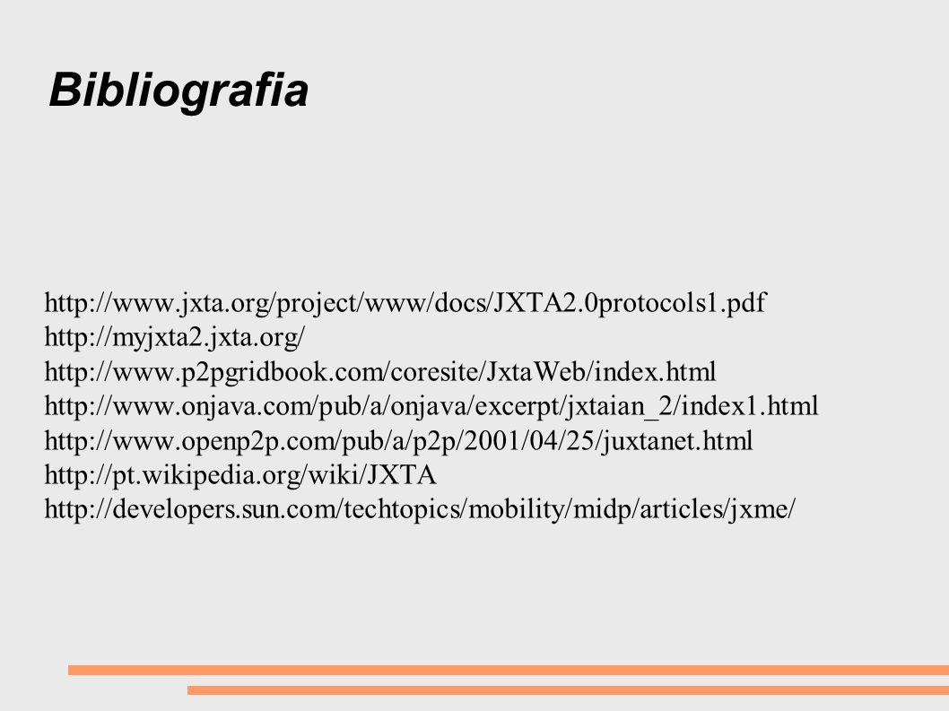 Bibliografia http://www.jxta.org/project/www/docs/JXTA2.0protocols1.pdf http://myjxta2.jxta.org/ http://www.p2pgridbook.com/coresite/JxtaWeb/index.htm