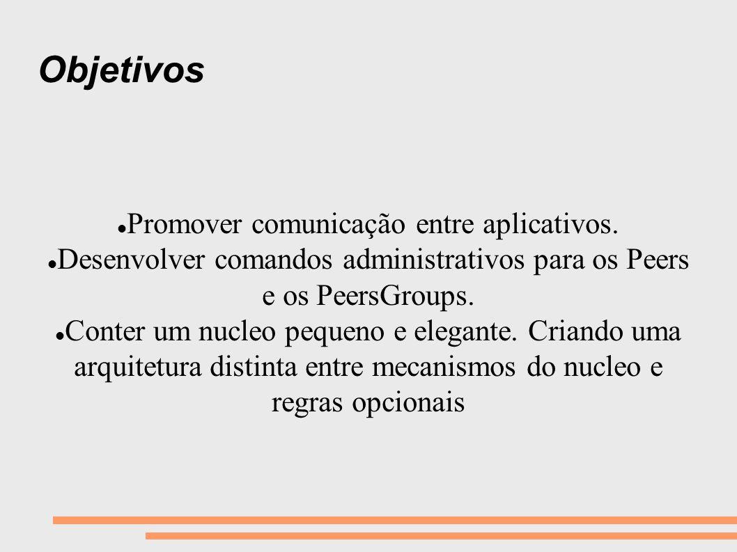 Objetivos Promover comunicação entre aplicativos. Desenvolver comandos administrativos para os Peers e os PeersGroups. Conter um nucleo pequeno e eleg