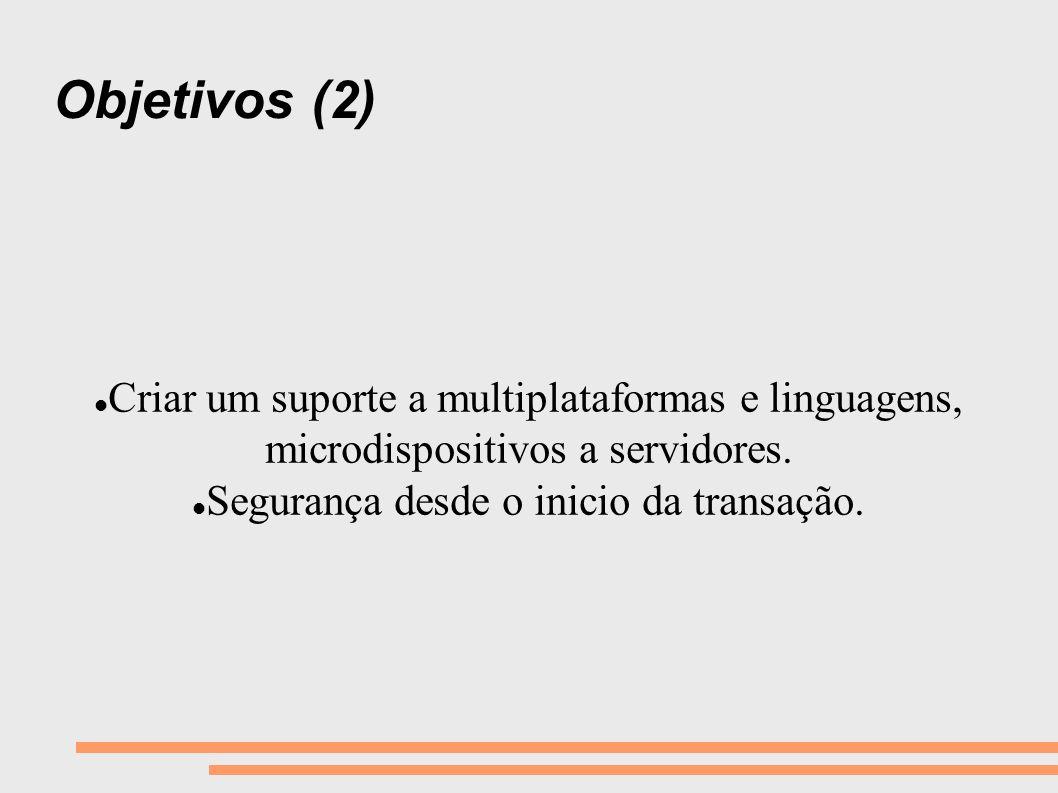 Objetivos (2) Criar um suporte a multiplataformas e linguagens, microdispositivos a servidores. Segurança desde o inicio da transação.