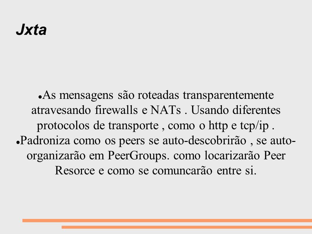 Jxta As mensagens são roteadas transparentemente atravesando firewalls e NATs. Usando diferentes protocolos de transporte, como o http e tcp/ip. Padro