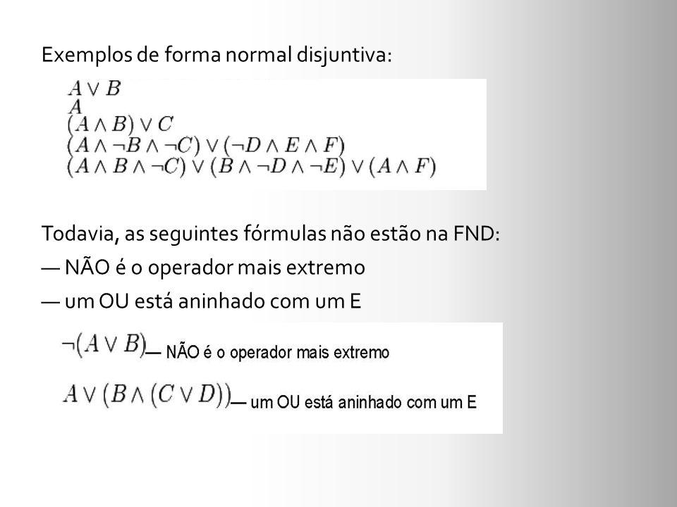 Exemplos de forma normal disjuntiva: Todavia, as seguintes fórmulas não estão na FND: NÃO é o operador mais extremo um OU está aninhado com um E