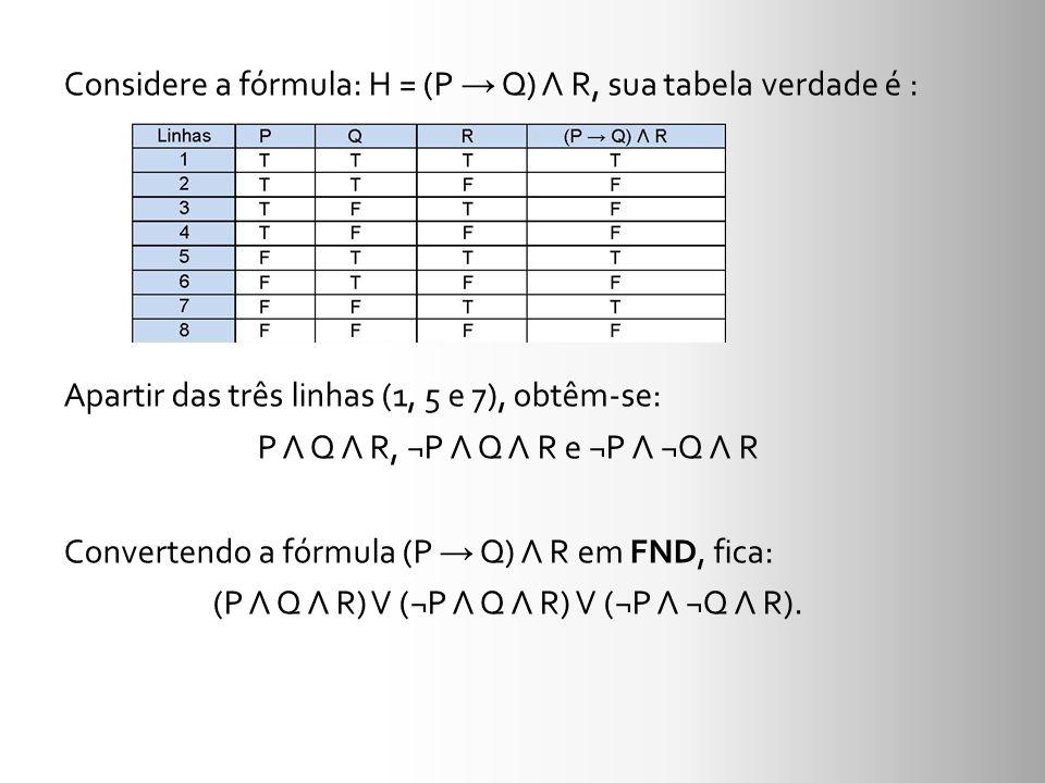 Considere a fórmula: H = (P Q) Λ R, sua tabela verdade é : Apartir das três linhas (1, 5 e 7), obtêm-se: P Λ Q Λ R, ¬P Λ Q Λ R e ¬P Λ ¬Q Λ R Converten