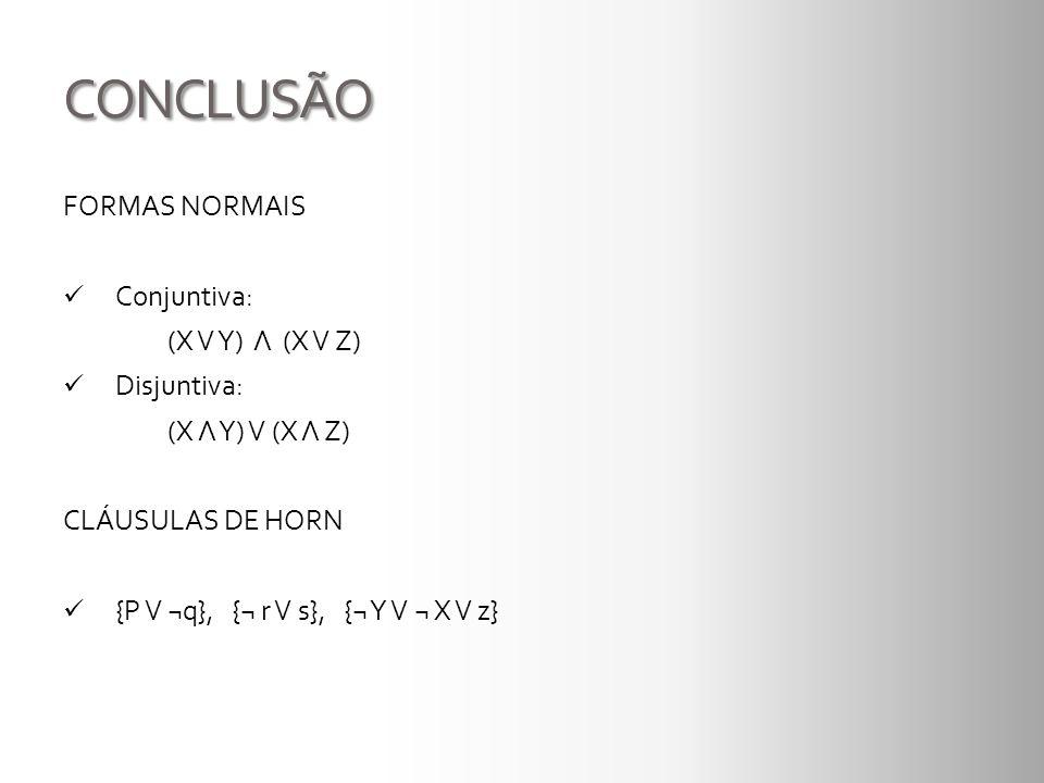 CONCLUSÃO FORMAS NORMAIS Conjuntiva: (X V Y) Λ (X V Z) Disjuntiva: (X Λ Y) V (X Λ Z) CLÁUSULAS DE HORN {P V ¬q}, {¬ r V s}, {¬ Y V ¬ X V z}