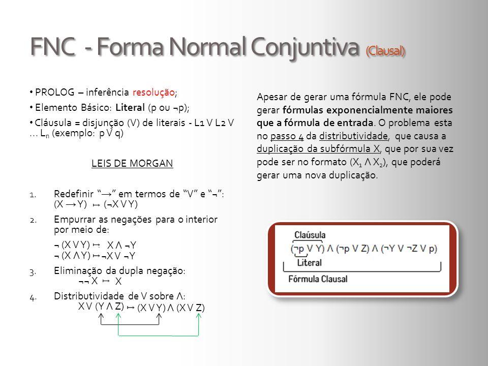 FNC - Forma Normal Conjuntiva (Clausal) PROLOG – inferência resolução; Elemento Básico: Literal (p ou ¬p); Cláusula = disjunção (V) de literais - L1 V