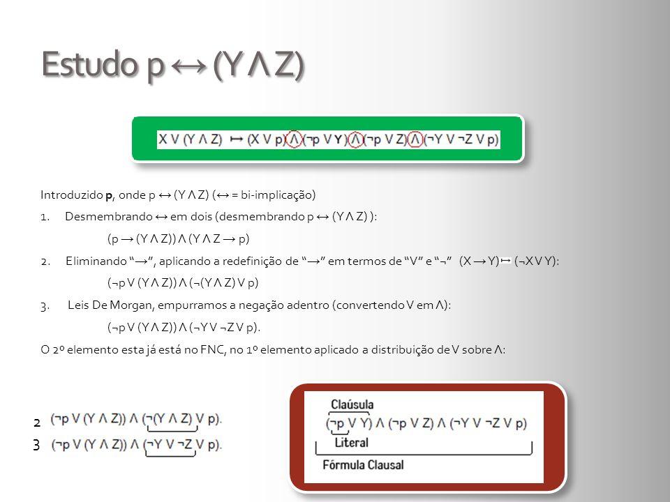 Estudo p (Y Λ Z) Introduzido p, onde p (Y Λ Z) ( = bi-implicação) 1. Desmembrando em dois (desmembrando p (Y Λ Z) ): (p (Y Λ Z)) Λ (Y Λ Z p) 2.Elimina