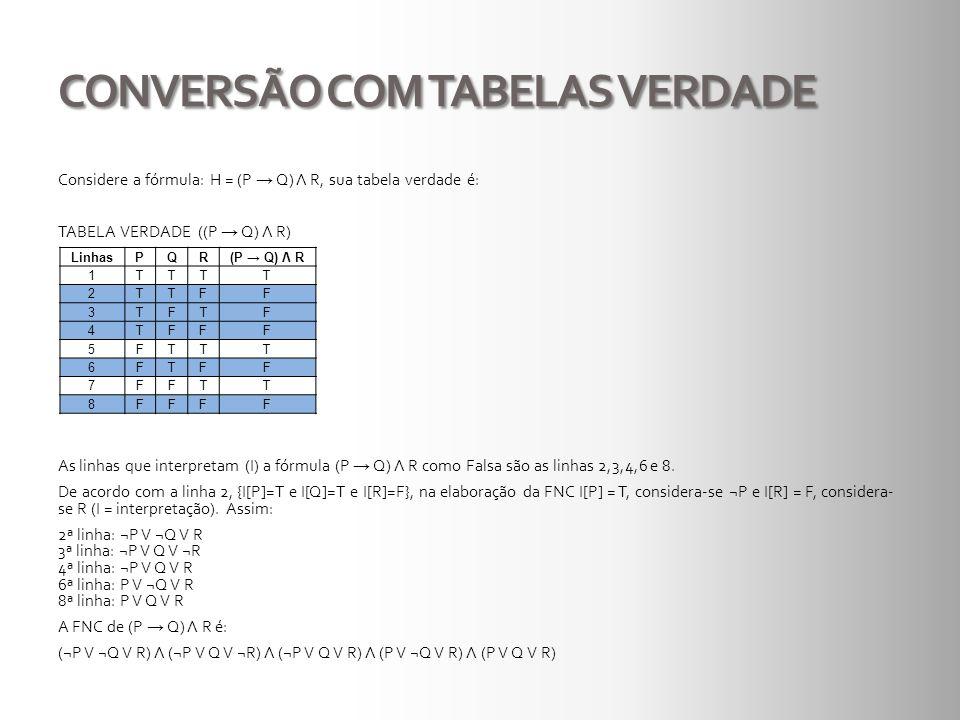 CONVERSÃO COM TABELAS VERDADE Considere a fórmula: H = (P Q) Λ R, sua tabela verdade é: TABELA VERDADE ((P Q) Λ R) As linhas que interpretam (I) a fór