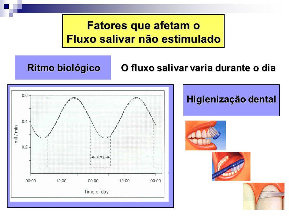 Ritmo biológico Ritmo biológico O fluxo salivar varia durante o dia Higienização dental Fatores que afetam o Fluxo salivar não estimulado