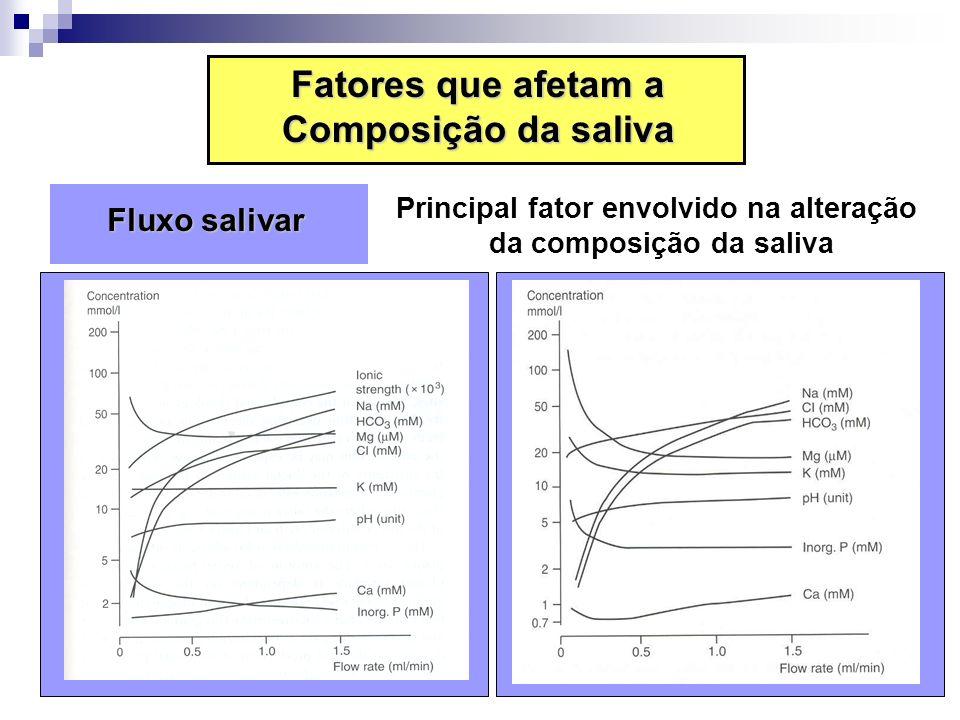 Fluxo salivar Fluxo salivar Principal fator envolvido na alteração da composição da saliva Fatores que afetam a Composição da saliva