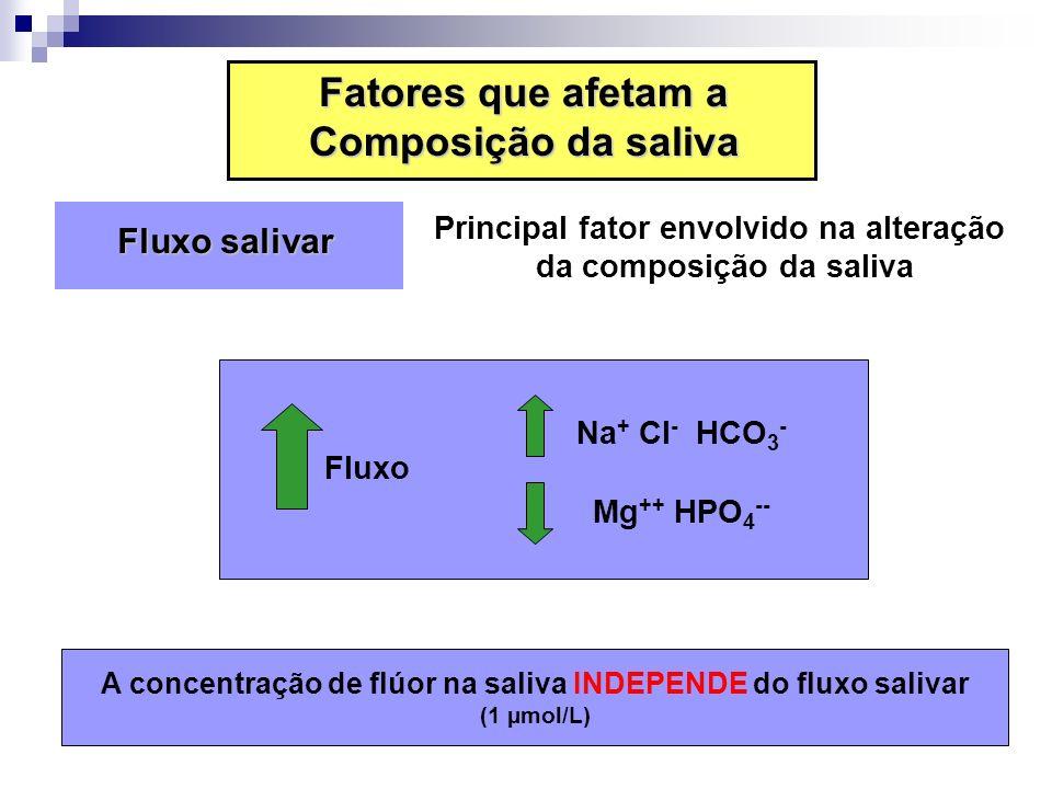 Fluxo salivar Fluxo salivar Principal fator envolvido na alteração da composição da saliva Fluxo Na + Cl - HCO 3 - Mg ++ HPO 4 -- A concentração de fl
