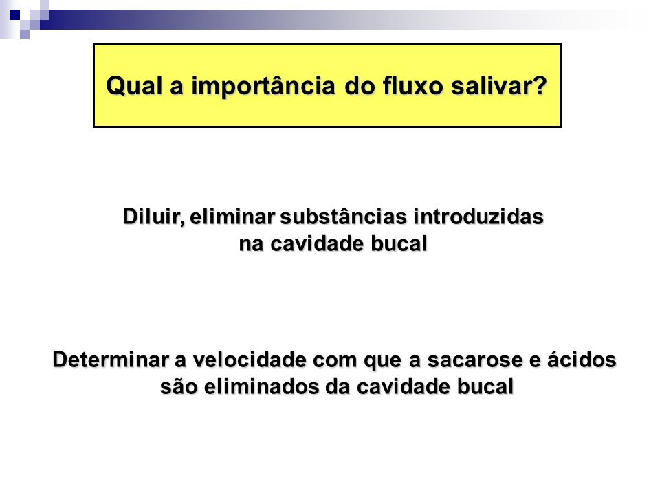 Hipofunção da glândula salivar A hipofunção da glândula salivar pode resultar em hipossalivação ou redução do fluxo salivar Fluxo salivar não estimulado Fluxo salivar estimulado Hipossalivação Condição Normal < 0,1 mL/min 0,3 mL/min < 0,5 a 0,7 mL/min 1,5 mL/min Xerostomia Situação clínica definida por uma impressão subjetiva de sensação de boca seca