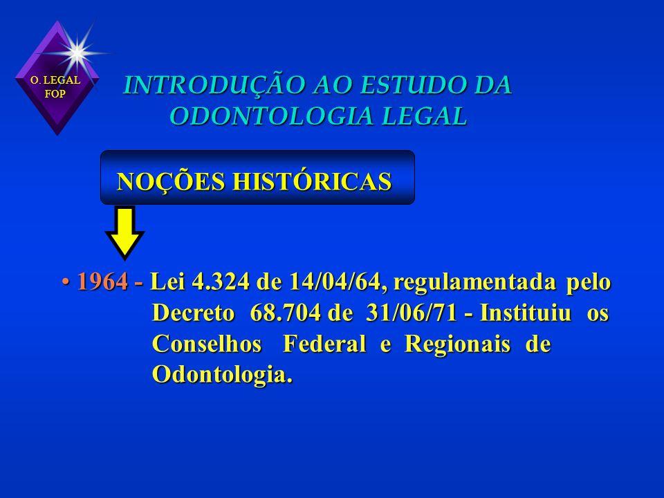 1964 - Lei 4.324 de 14/04/64, regulamentada pelo 1964 - Lei 4.324 de 14/04/64, regulamentada pelo Decreto 68.704 de 31/06/71 - Instituiu os Decreto 68