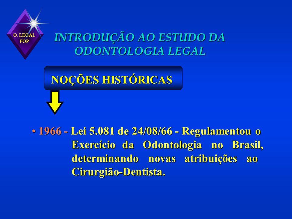 1966 - Lei 5.081 de 24/08/66 - Regulamentou o 1966 - Lei 5.081 de 24/08/66 - Regulamentou o Exercício da Odontologia no Brasil, Exercício da Odontolog