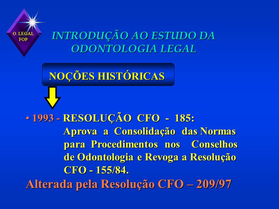 1993 - RESOLUÇÃO CFO - 185: 1993 - RESOLUÇÃO CFO - 185: Aprova a Consolidação das Normas Aprova a Consolidação das Normas para Procedimentos nos Conse