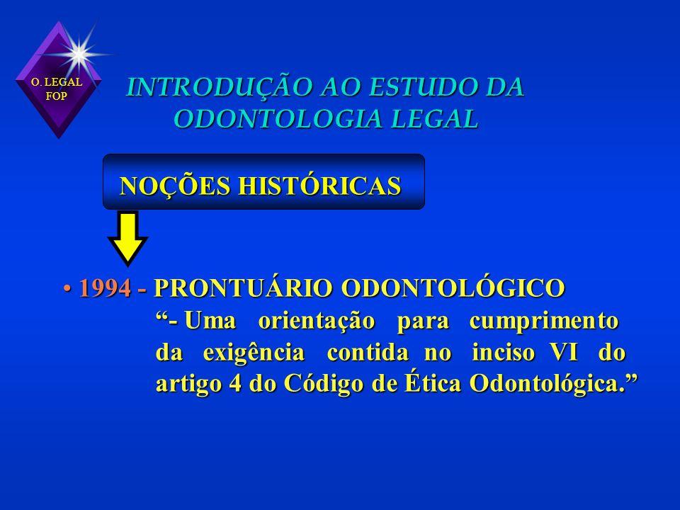 1994 - PRONTUÁRIO ODONTOLÓGICO 1994 - PRONTUÁRIO ODONTOLÓGICO - Uma orientação para cumprimento - Uma orientação para cumprimento da exigência contida