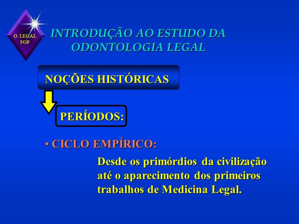 O. LEGAL FOP INTRODUÇÃO AO ESTUDO DA ODONTOLOGIA LEGAL NOÇÕES HISTÓRICAS PERÍODOS: CICLO EMPÍRICO: CICLO EMPÍRICO: Desde os primórdios da civilização