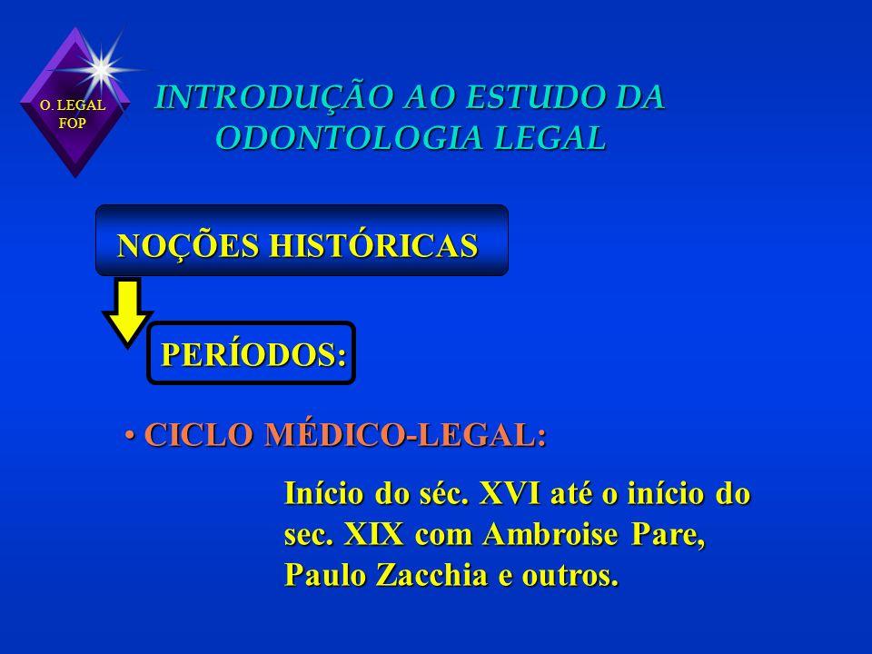 O. LEGAL FOP INTRODUÇÃO AO ESTUDO DA ODONTOLOGIA LEGAL NOÇÕES HISTÓRICAS PERÍODOS: CICLO MÉDICO-LEGAL: CICLO MÉDICO-LEGAL: Início do séc. XVI até o in
