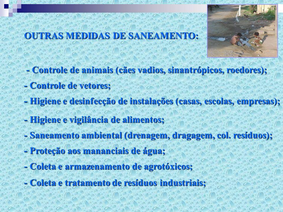 OBJETIVOS: - Controle e prevenção de doenças; - Melhoria da qualidade de vida da população; - Aumento da produtividade; - Facilitação/incremento da atividade econômica;