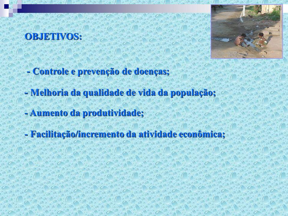 SANEAMENTO BÁSICO NO BRASIL (IBGE, 2004-5) - 60 milhões de pessoas não têm saneamento básico; - 10 milhões não contam com coleta de esgoto; - 16 milhões não têm coleta de lixo; - 3,5 milhões de casas não têm água encanada (15 milhões de pessoas); - 1/3 dos municípios < 20.000 hab.