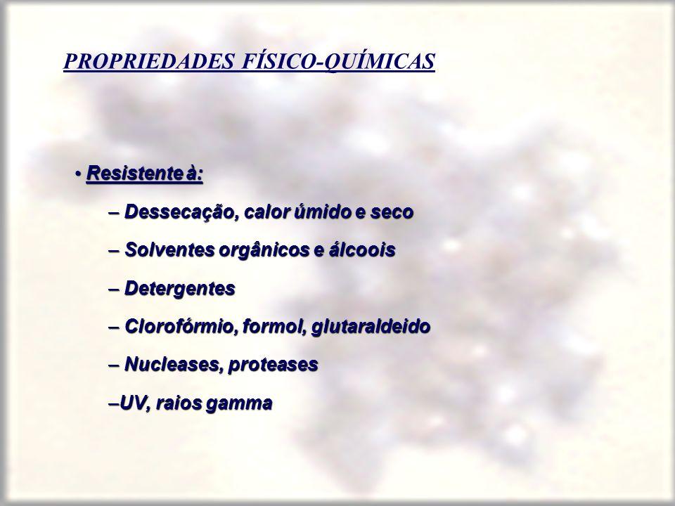 PROPRIEDADES FÍSICO-QUÍMICAS Resistente à: Resistente à: – Dessecação, calor úmido e seco – Solventes orgânicos e álcoois – Detergentes – Clorofórmio,