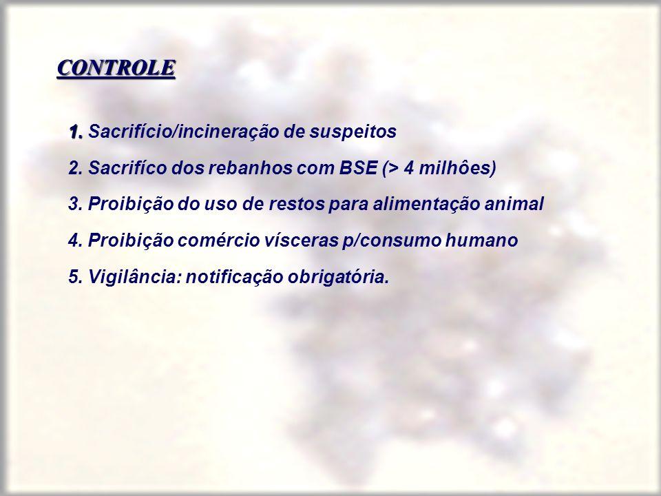 CONTROLE 1. 1. Sacrifício/incineração de suspeitos 2. Sacrifíco dos rebanhos com BSE (> 4 milhôes) 3. Proibição do uso de restos para alimentação anim