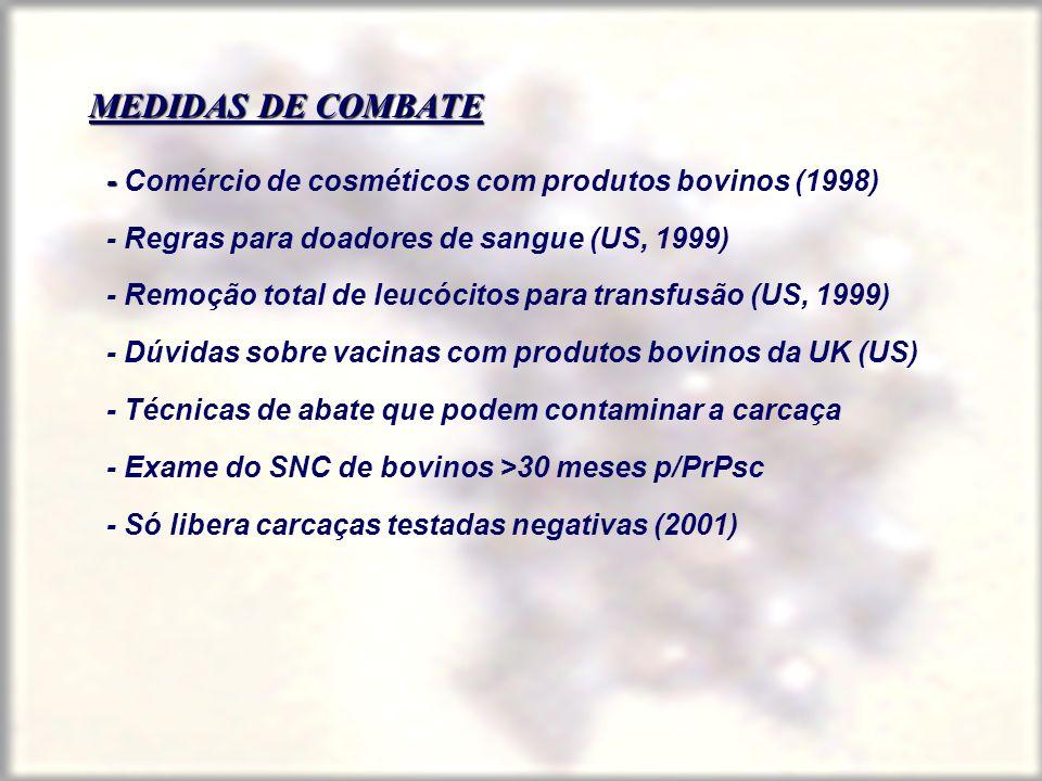 MEDIDAS DE COMBATE - - Comércio de cosméticos com produtos bovinos (1998) - Regras para doadores de sangue (US, 1999) - Remoção total de leucócitos pa