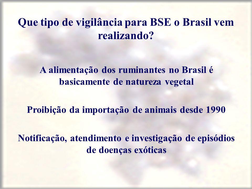 Que tipo de vigilância para BSE o Brasil vem realizando? A alimentação dos ruminantes no Brasil é basicamente de natureza vegetal Proibição da importa