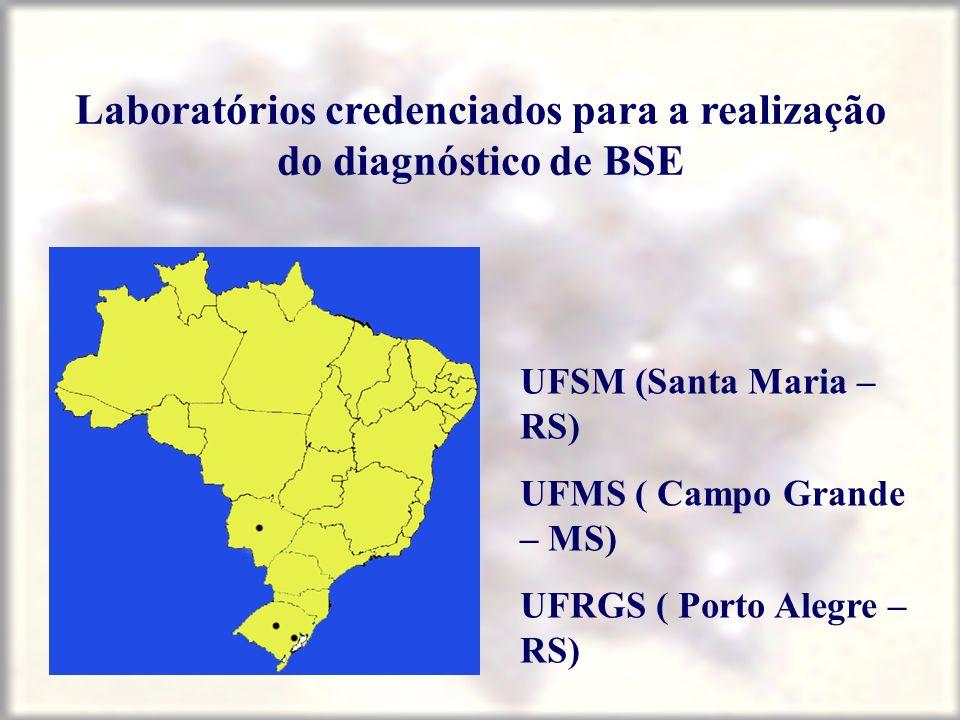 Laboratórios credenciados para a realização do diagnóstico de BSE UFSM (Santa Maria – RS) UFMS ( Campo Grande – MS) UFRGS ( Porto Alegre – RS)