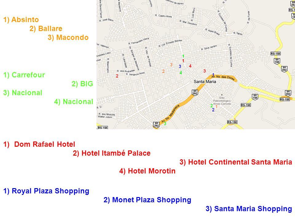 1)Dom Rafael Hotel 2) Hotel Itambé Palace 3) Hotel Continental Santa Maria 4) Hotel Morotin 1) Absinto 2) Ballare 3) Macondo 1) Royal Plaza Shopping 2