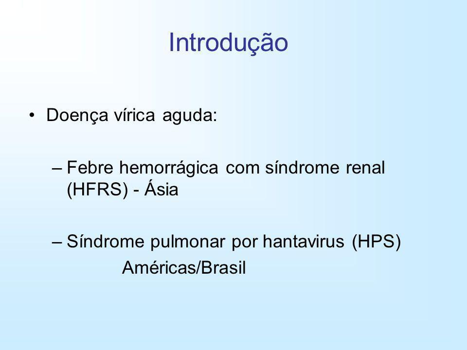 Doença vírica aguda: –Febre hemorrágica com síndrome renal (HFRS) - Ásia –Síndrome pulmonar por hantavirus (HPS) Américas/Brasil Introdução