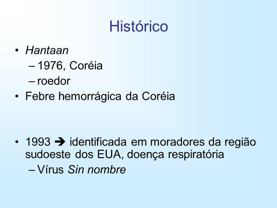 Histórico Hantaan –1976, Coréia –roedor Febre hemorrágica da Coréia 1993 identificada em moradores da região sudoeste dos EUA, doença respiratória –Ví