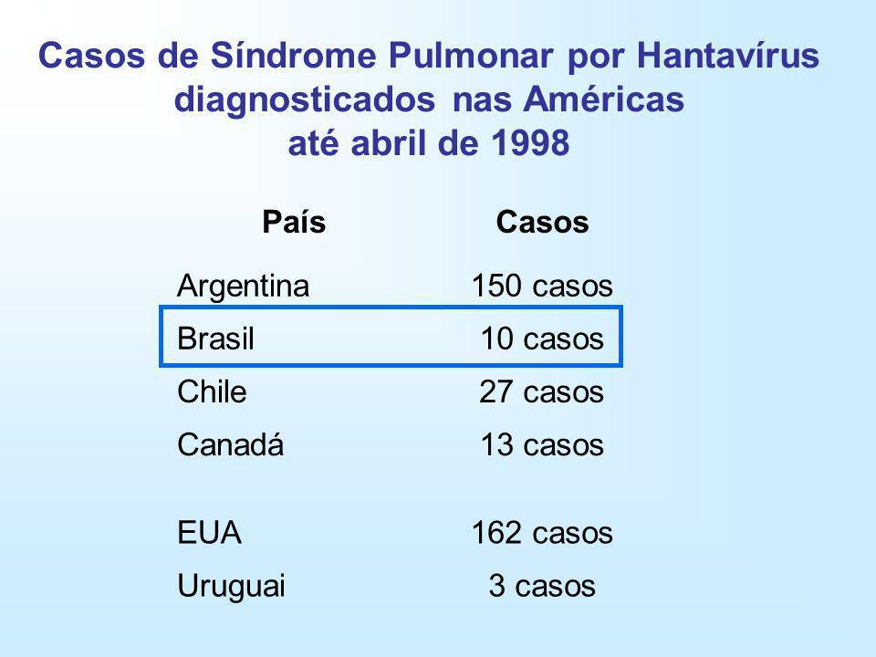 Casos de Síndrome Pulmonar por Hantavírus diagnosticados nas Américas até abril de 1998 PaísCasos Argentina150 casos Brasil10 casos Chile27 casos Cana