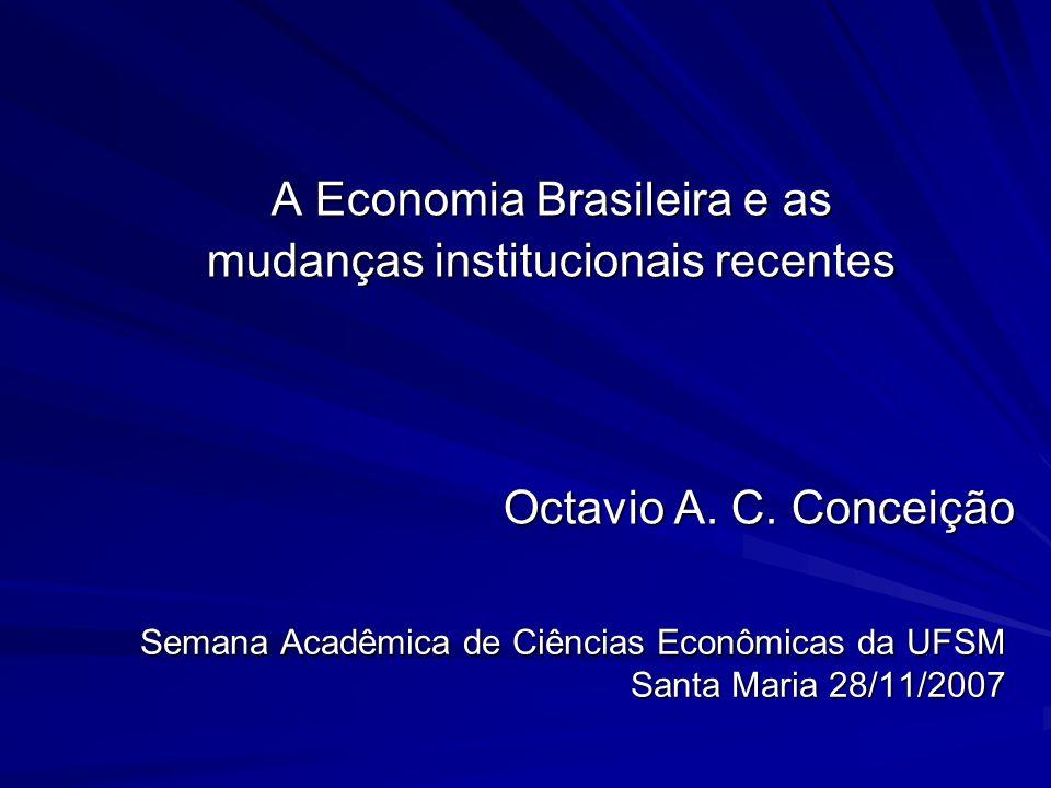 Semana Acadêmica de Ciências Econômicas da UFSM Santa Maria 28/11/2007 A Economia Brasileira e as mudanças institucionais recentes Octavio A. C. Conce