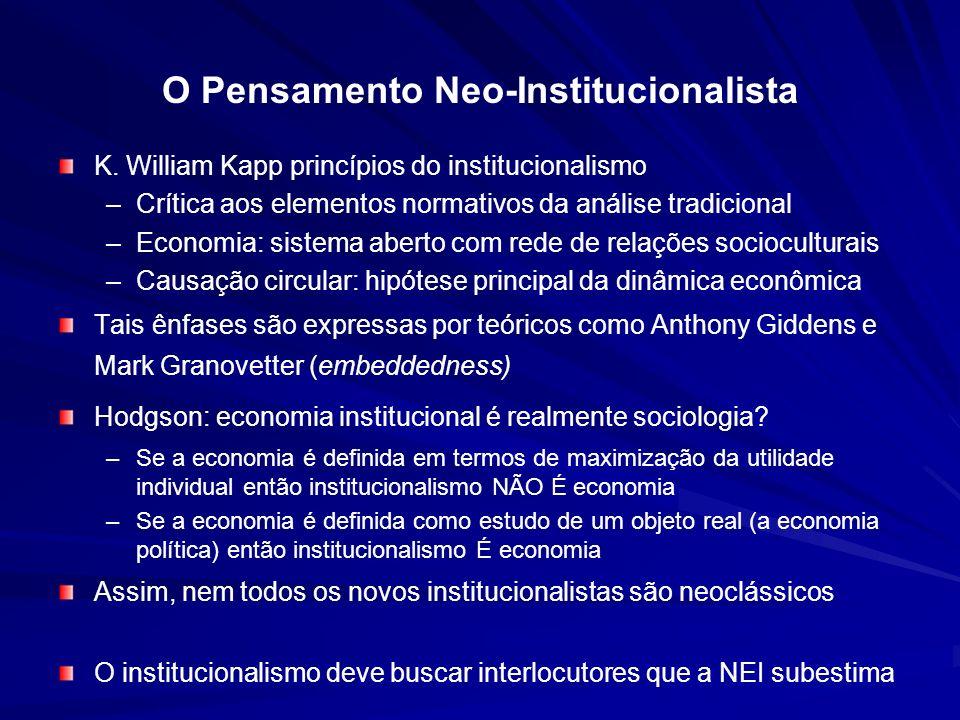 O Pensamento Neo-Institucionalista K. William Kapp princípios do institucionalismo – –Crítica aos elementos normativos da análise tradicional – –Econo