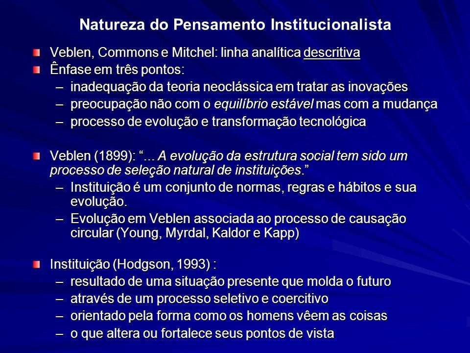 Natureza do Pensamento Institucionalista Veblen, Commons e Mitchel: linha analítica descritiva Ênfase em três pontos: –inadequação da teoria neoclássi