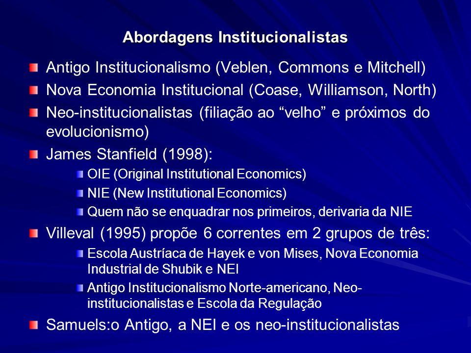 Abordagens Institucionalistas Antigo Institucionalismo (Veblen, Commons e Mitchell) Nova Economia Institucional (Coase, Williamson, North) Neo-institu