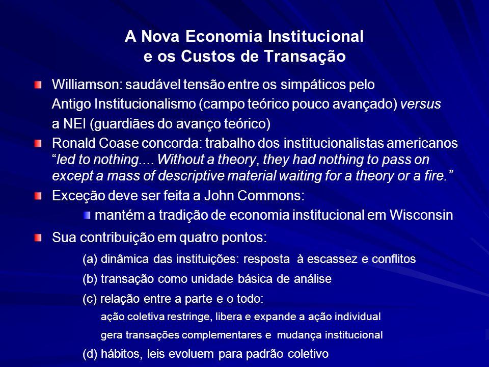 A Nova Economia Institucional e os Custos de Transação Williamson: saudável tensão entre os simpáticos pelo Antigo Institucionalismo (campo teórico po
