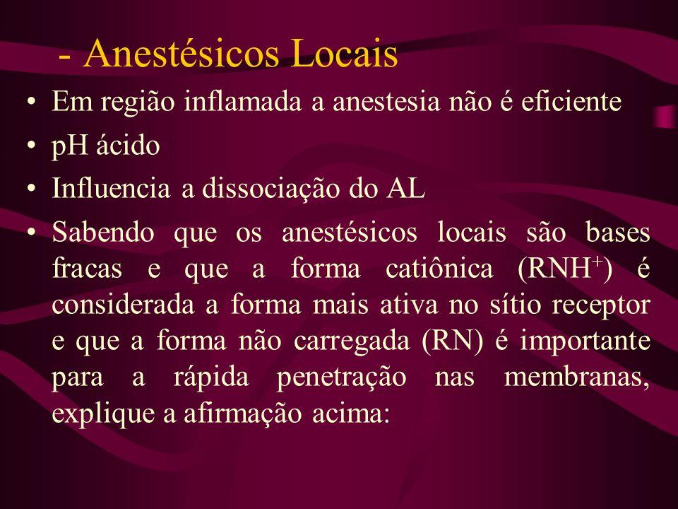 - Anestésicos Locais Em região inflamada a anestesia não é eficiente pH ácido Influencia a dissociação do AL Sabendo que os anestésicos locais são bas